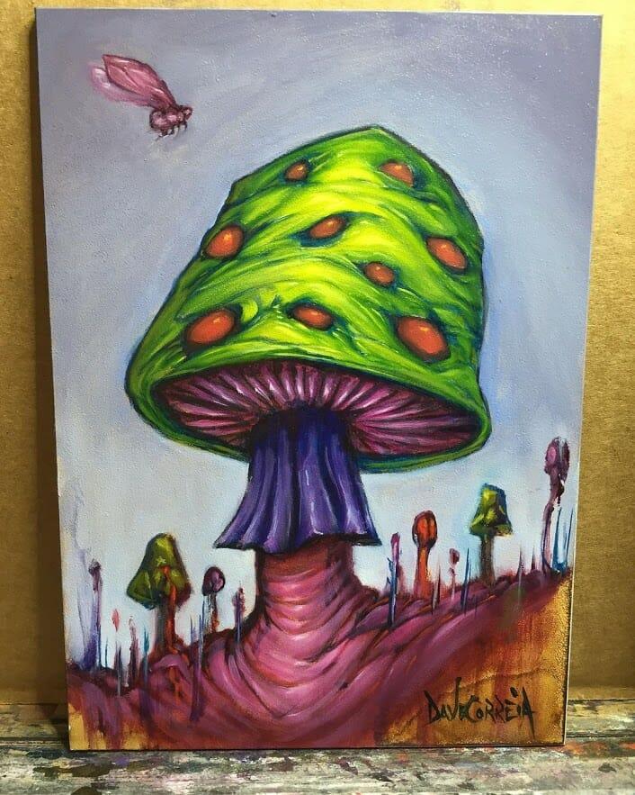 Peinture d'un gros champignon vert