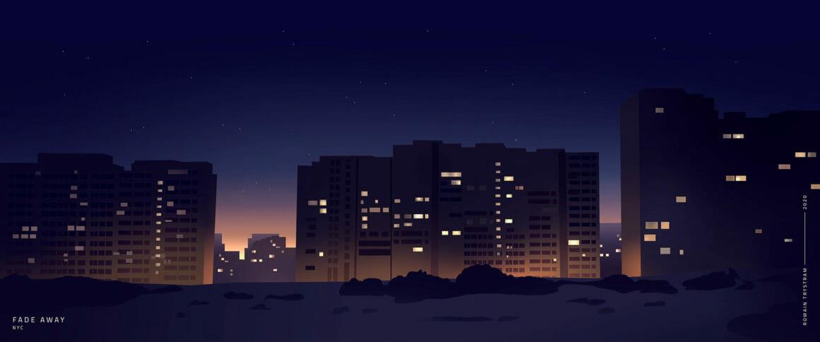 Bâtiments de loins avec des fenêtres illuminés par la lumière d'appartements