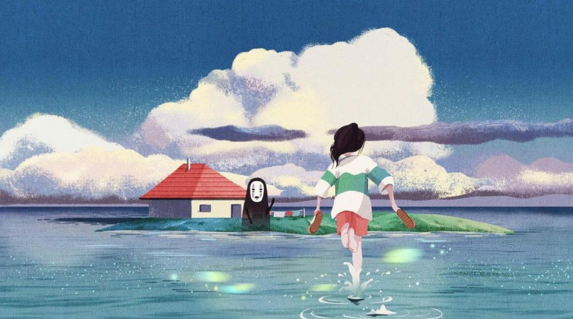 Une jeune fille qui court sur l'eau vers un esprit japonais