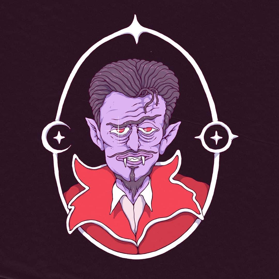 @spoon_tar - portrait d'un ami  portrait d'un vampire à la peau violette et aux sourcils haussés.