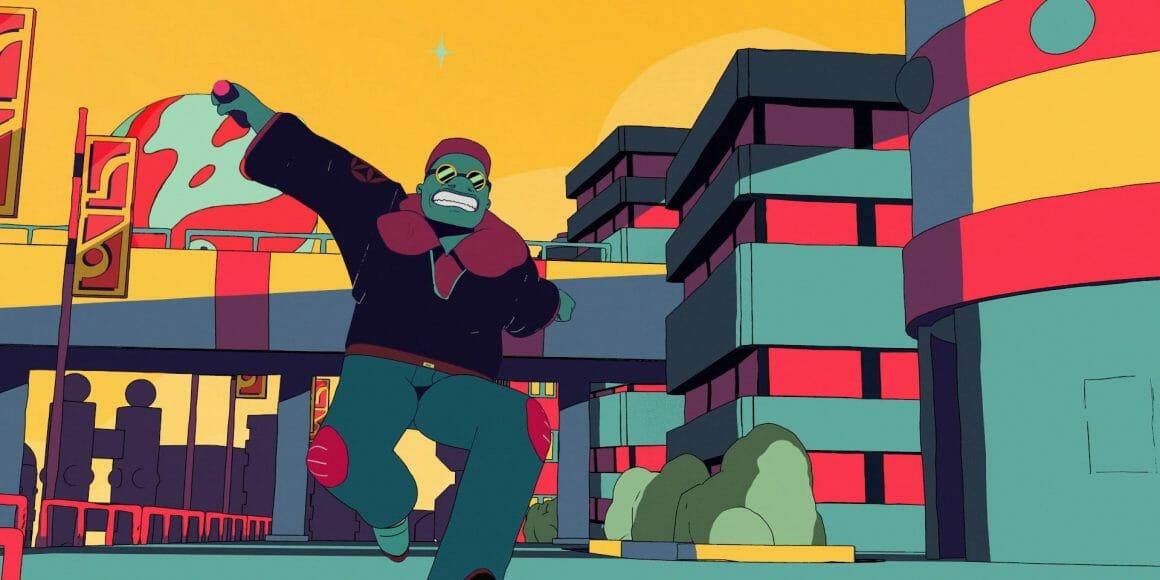 Le personnage principal à la peau foncée, en grosse veste pourpre foncée avec un col épais plus clair et des lunettes noires cours de façon comique. Il tient dans sa main un bouton, comme un détonateur de bombe. Il est dans une rude de la ville furtive, derrière lui on distingue des immeubles, un pont et le soleil vert et rouge.