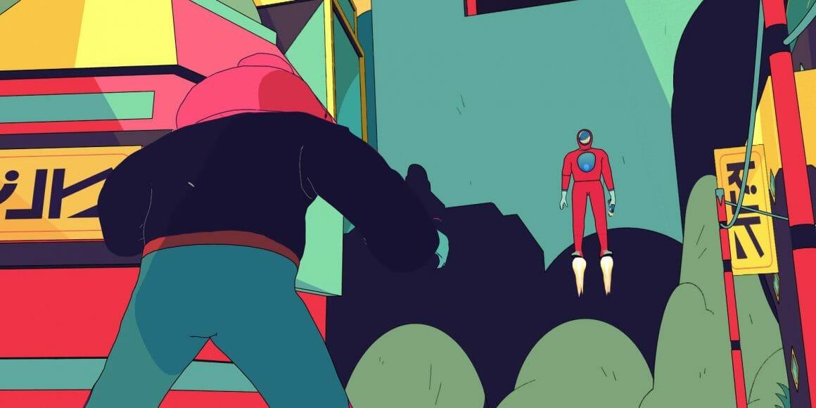 Vue du personnage principal de dos. Face à lui, le personnage en justaucorps et masque flotte dans l'air grâce à des réacteurs sous les pieds. Affrontement digne des combats de regards dans les western. Décors de ville.