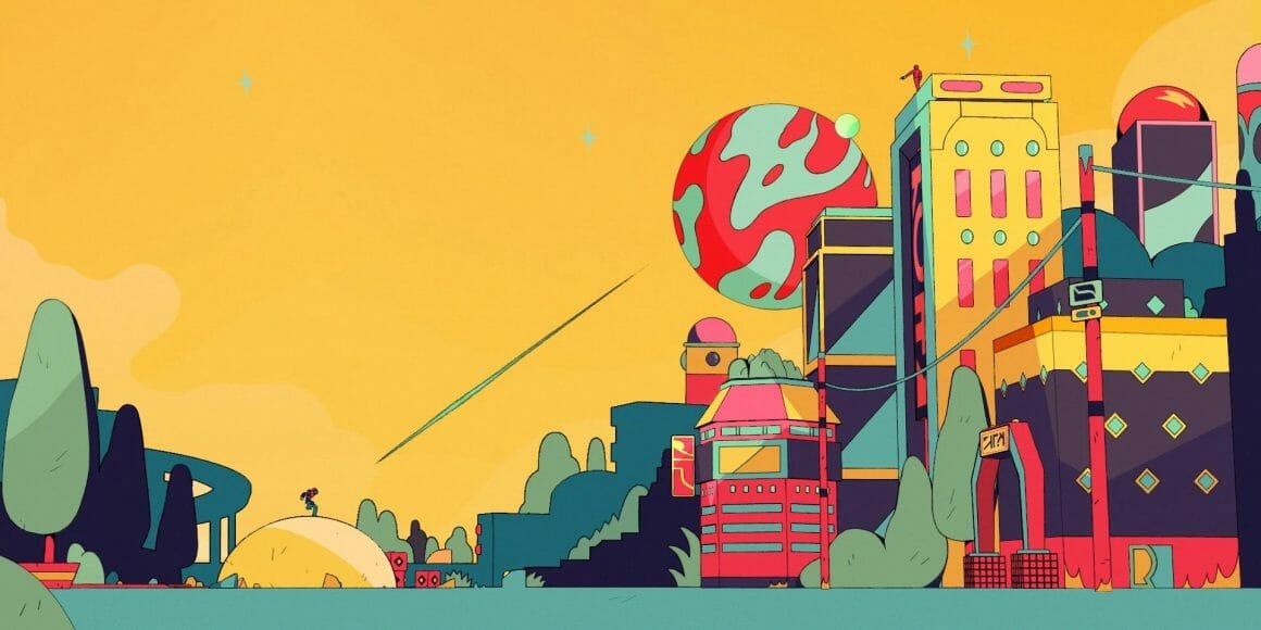 """Univers futuriste, tiré du clip """"Alma"""". Ciel jaune, planète verte et rouge en fond. Une ville se dresse, avec des immeubles géométriques et colorés (rouge, bleu, gris, jaune et touches de vert-de-gris). Au sommet d'un haut bâtiment se distingue une silhouette rouge. Plus bas, dans sa ligne de mire, une autre silhouette se tient debout dur une petite colline jaune. Un trait déchire le ciel juste devant lui, comme la trace d'un coup de feu qui lui serait destiné."""