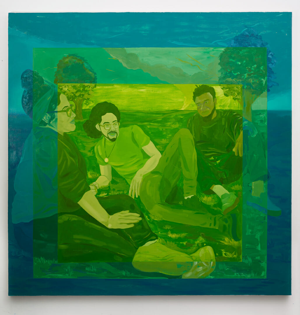 Trois personnes noires discutent, assis sur une pelouse. Effet de cadres successifs là encore, en dégradé, ici bleu, puis vert avant un vert tirant sur le jaune.