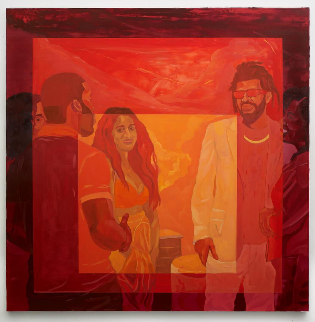 Groupe de personnes noires qui discutent. Fond rouge, avec un cadre pourpre sur les bords, puis carmin sur le l'avant-centre du tableau et le coeur tends sur l'orange en mettant en lumière le visage d'une des femmes qui sourit au spectateur.