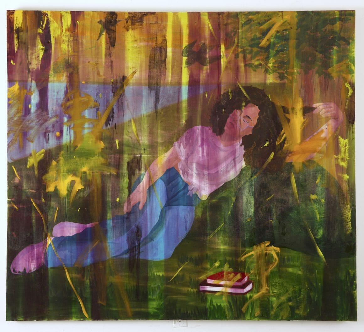 Jeune femme noire, allongée dans l'herbe verte, près d'un cours d'eau bleu. Effets de lumière et de texture développé plus tardivement par Chambers comme pour protéger ses personnages du regard.