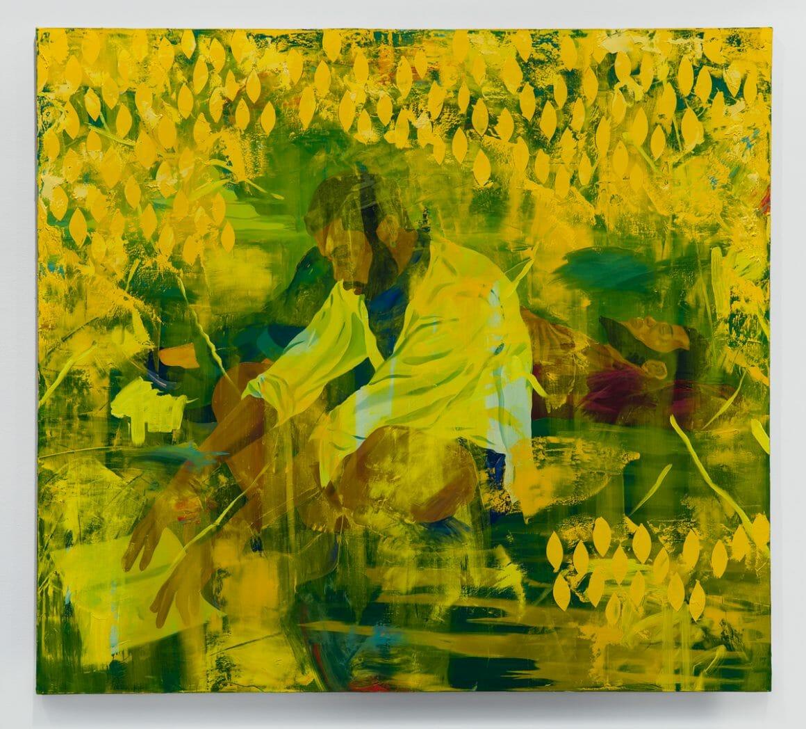 Peinture de Dominic Chambers. Un homme noir est assis en tailleur, un livre en main. Un autre derrière est allongé, la main sur le coeur et l'autre bras sous la tête. Les deux sont sur une étendue d'herbe, et un rideau de goutes jaune les entoure.