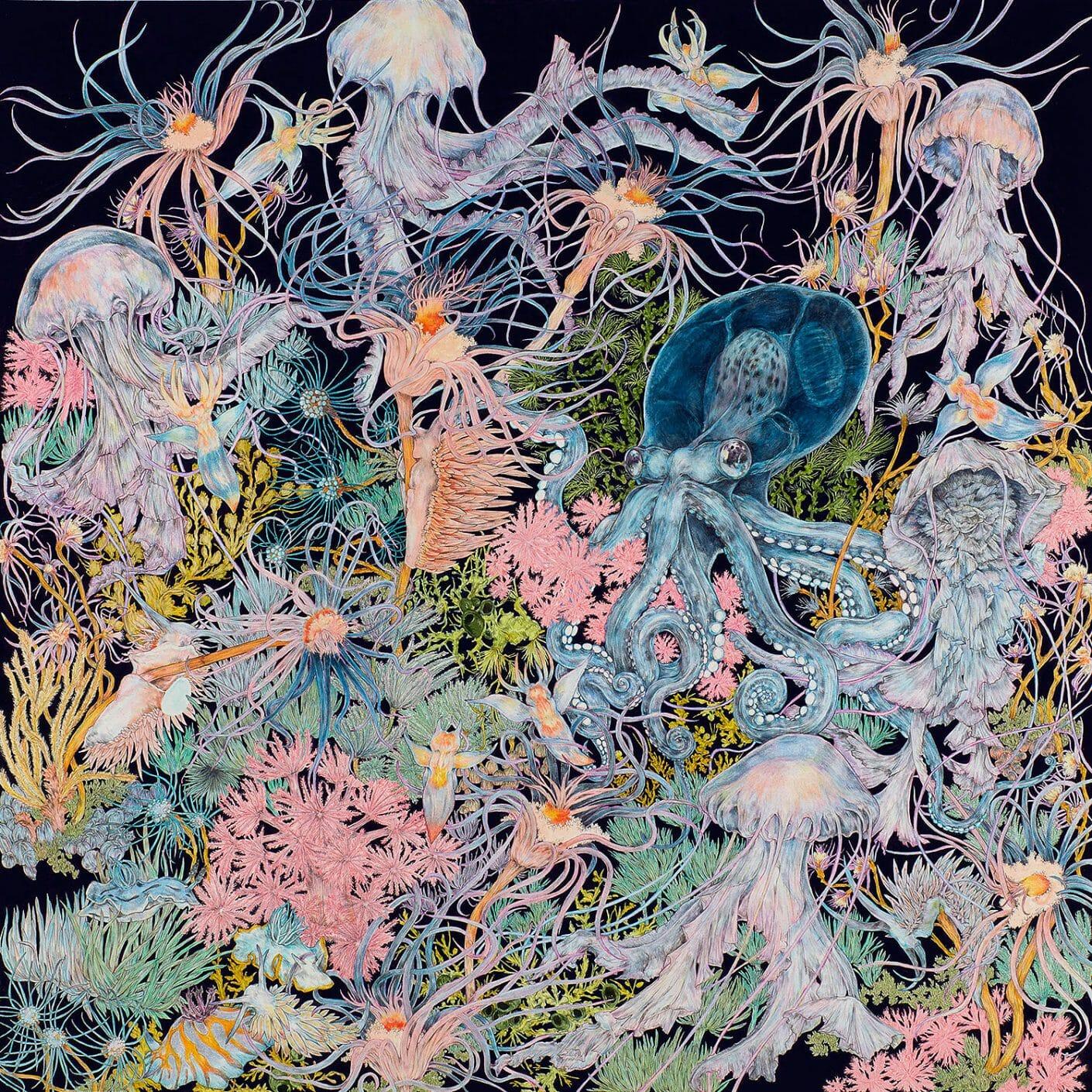 Anémones et coraux qui se mêlent aux tentacules et filaments de méduses, pieuvres et autres animaux marins