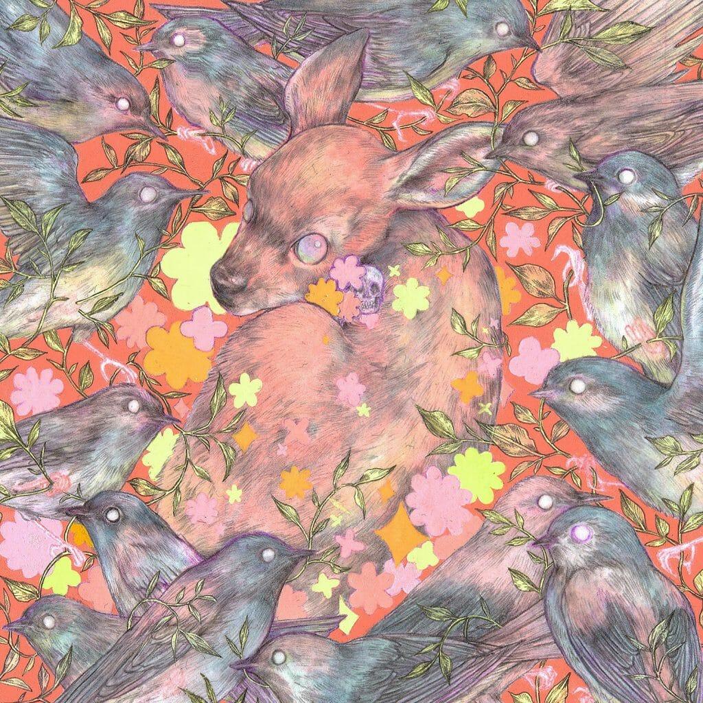 Au centre un petit faon et tout autour des oiseaux.