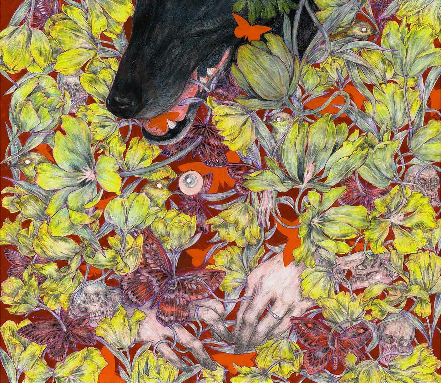 Au milieu de fleurs jaunes on devine des  mains humaines, des squelettes animaux et une tête de loup noir