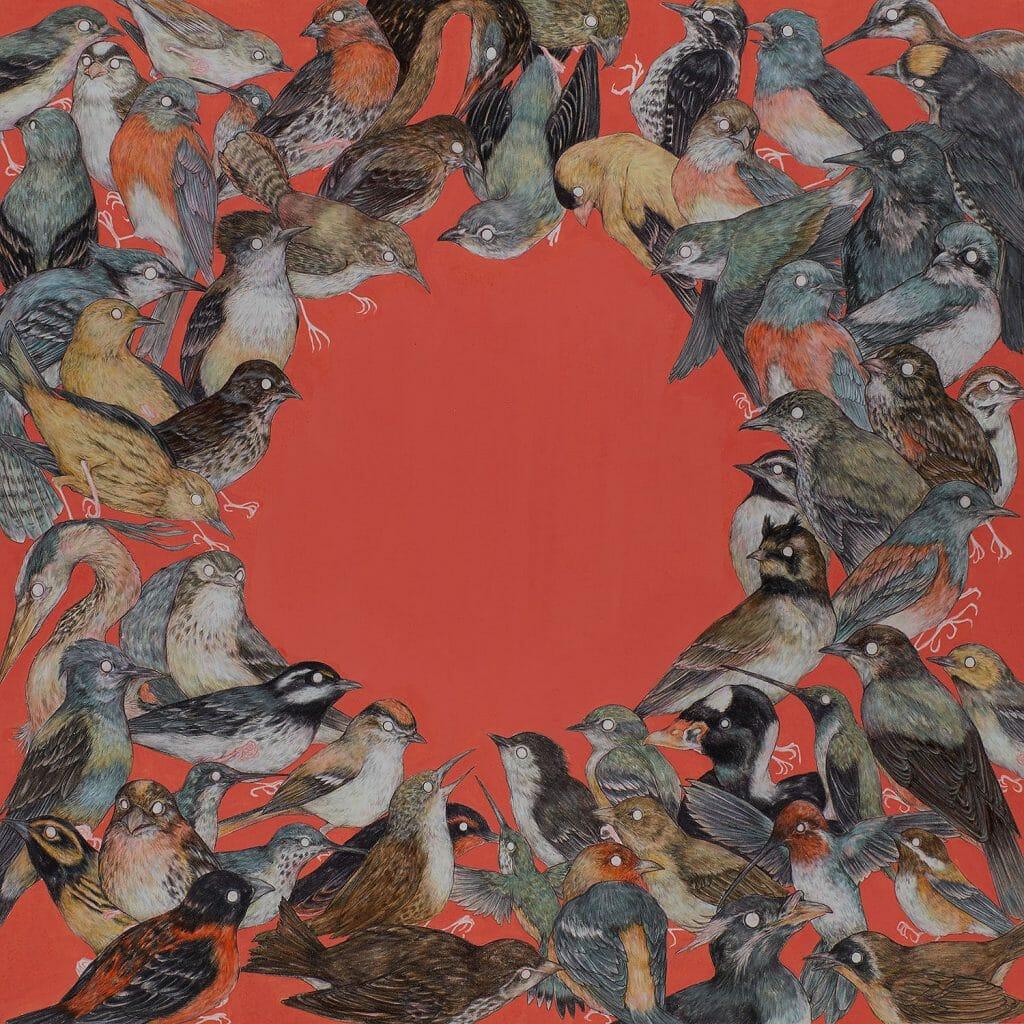 Fond rouge, des oiseaux sont représentées en cercle, un trou étant laissé au milieux et qui  laisse voir le fond