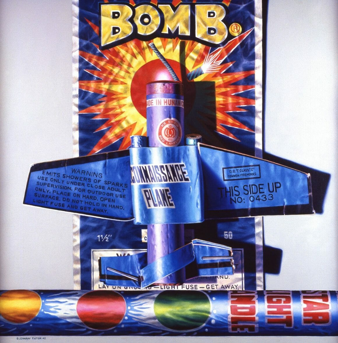 """Bomb - petit feu d'artifice en forme d'avion avec écrit """"BOMB"""" sur l'emballage"""