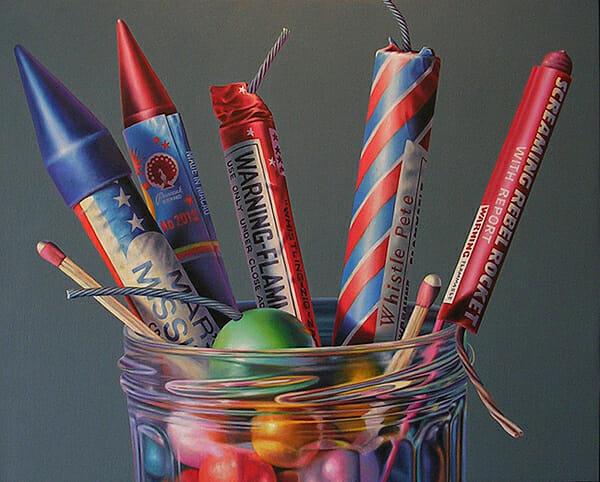 Fireworks floral (with green smoke bomb) - petits feux d'artifices dans un pot de confiture