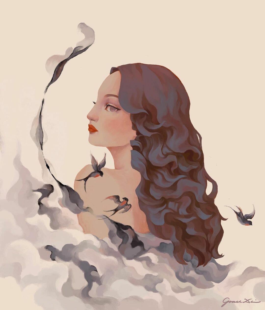Une femme de dos, visage de profil, cheveux en cascade, son dos caché par des nuages, plusieurs oiseaux volent autour d'elle