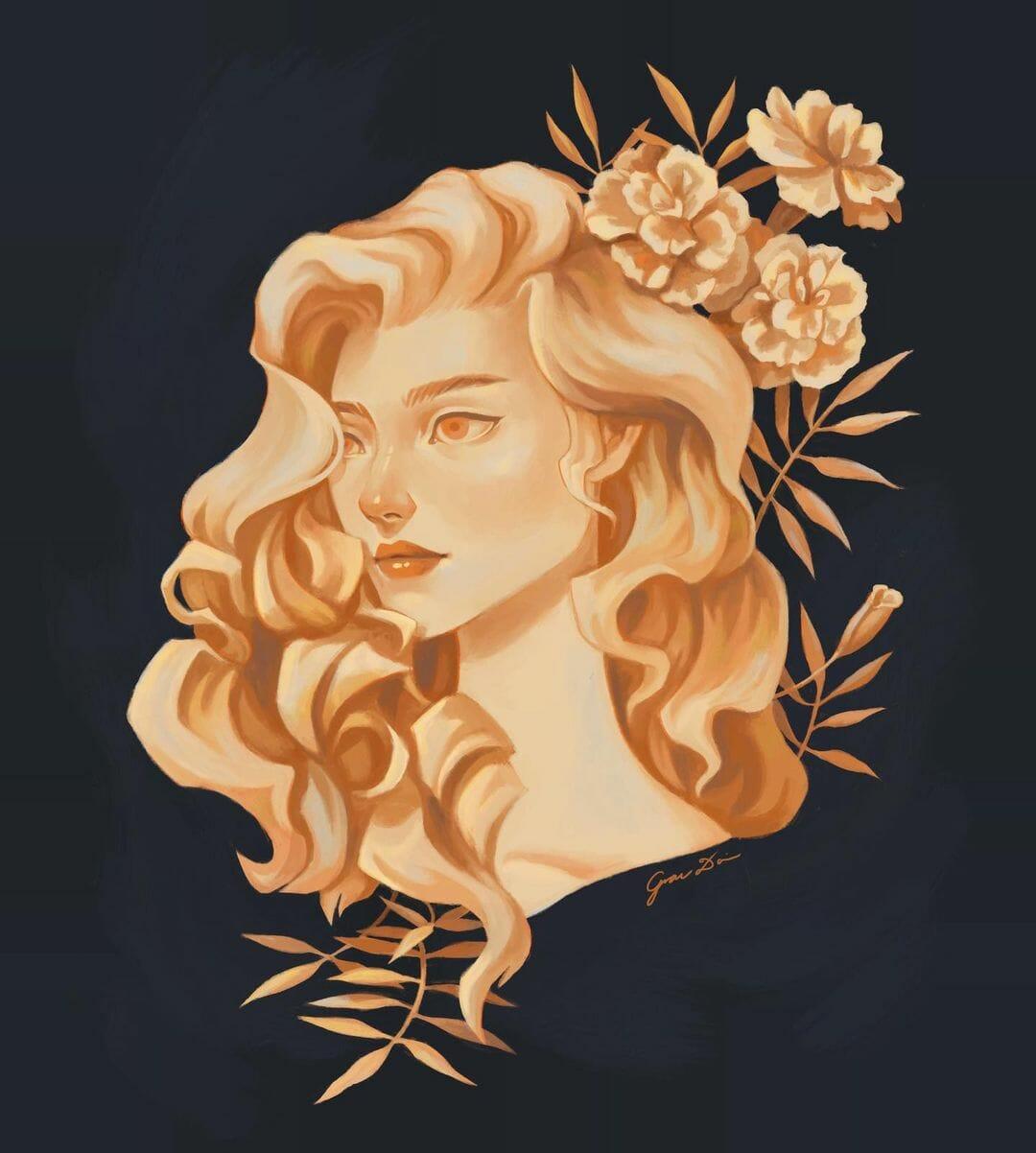 Portrait d'une femme, couleurs orangées, des feuillages derrière elle.