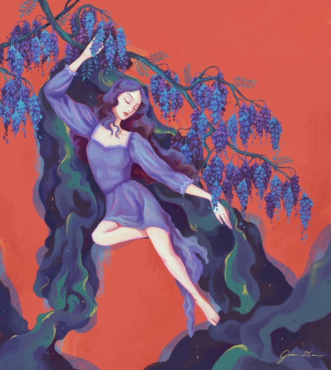 Une femme pose sous des glycines, ses cheveux et sa robe sont aussi violets que les fleurs