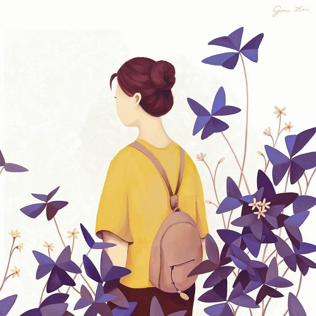 Femme de dos, entourée de petites fleurs violettes