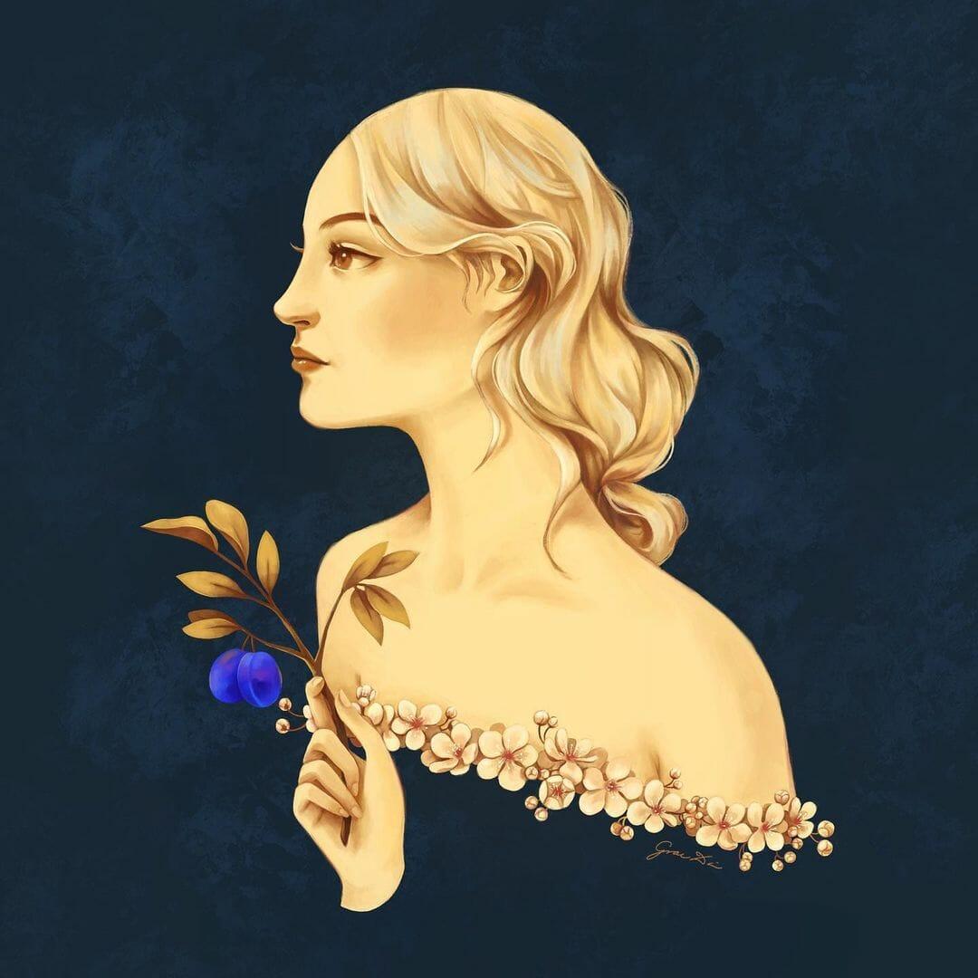 Jeune femmes à la peau dorée, son buste est bordé de petits fleurs. Elle tient un branchage avec deux prunes