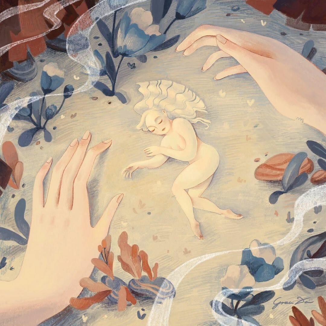 Illustration de Grace Dai, Une femme nue, cheveux gris, est allongée sur le sol, des fleurs et deux grandes mains délicates l'entourent