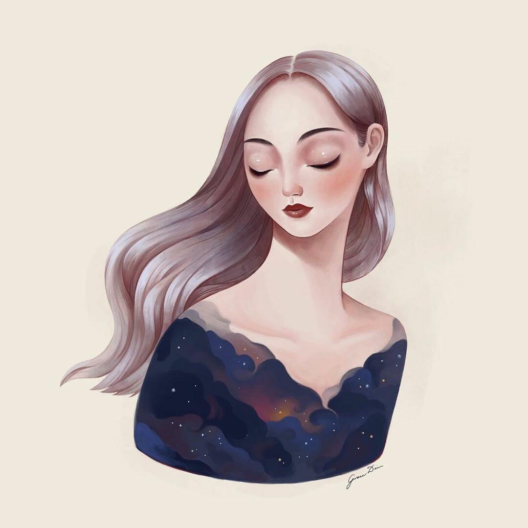 Portrait d'une femme, les yeux clos. Sur son buste se dessinent des nuages aux couleurs de la galaxie