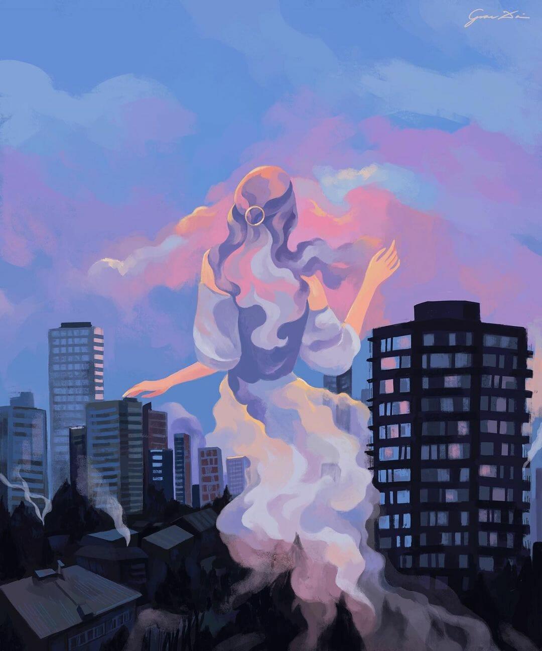 Jeune femme au milieu d'immeubles qu'elle dépasse, sa robe et ses cheveux se confondent avec les nuages