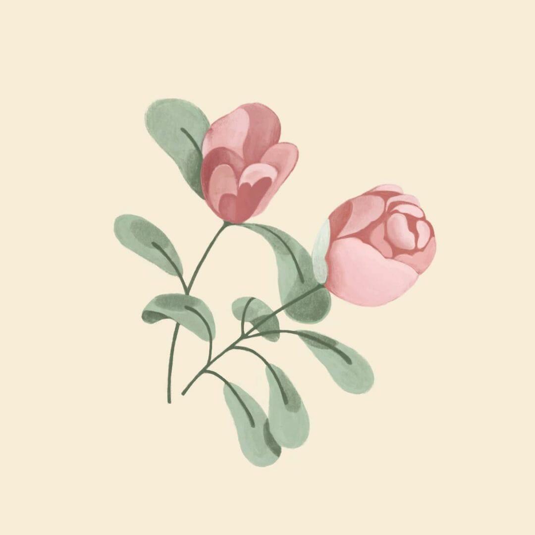 Deux boutons de roses avec leur branche, sur fond beige par Grace Dai