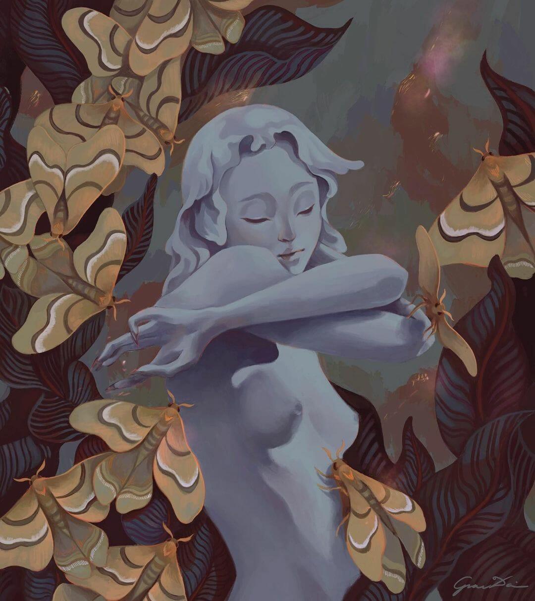 Une jeune femme torse nue, la peau semblable à celle d'une statue, des feuilles et de gros papillons l'entourent