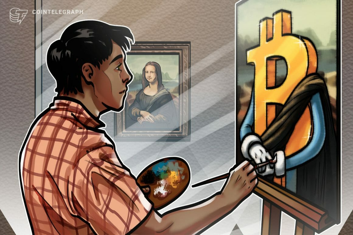 Homme peignant une œuvre bitcoin