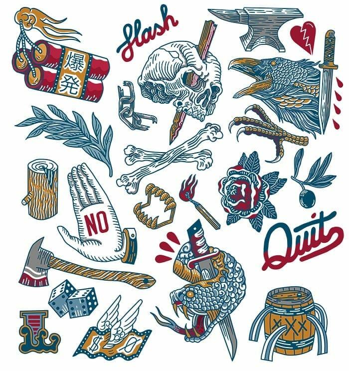 Planche de tatouages bleu, jaune re rouge, tête de mort, feuillages et têtes d'animaux coupées