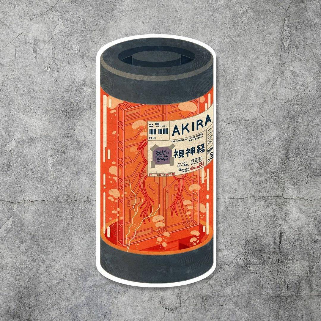 """Fond gris, fiole orange, étique avec inscrit des mots en japonais et """"Akira"""""""