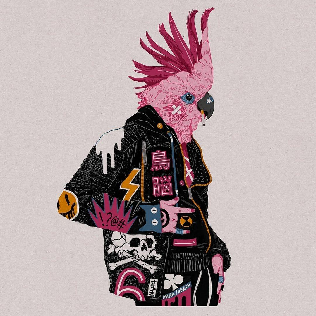 Personnage au corps humain mais à la tête de perroquet rose, habillé d'une veste noire avec des empiècements