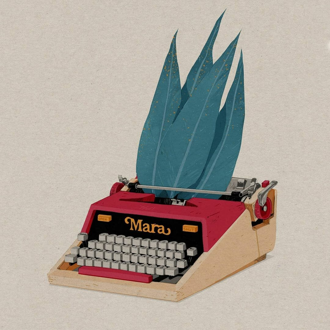 Machine à écrire qui a des feuilles d'arbre à la place de feuilles blanches