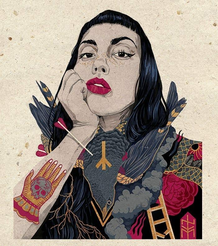 Illustration de NVM, portrait de femme qui a un oiseau autour du coup, son bras qui soutient sa tête est tatoué