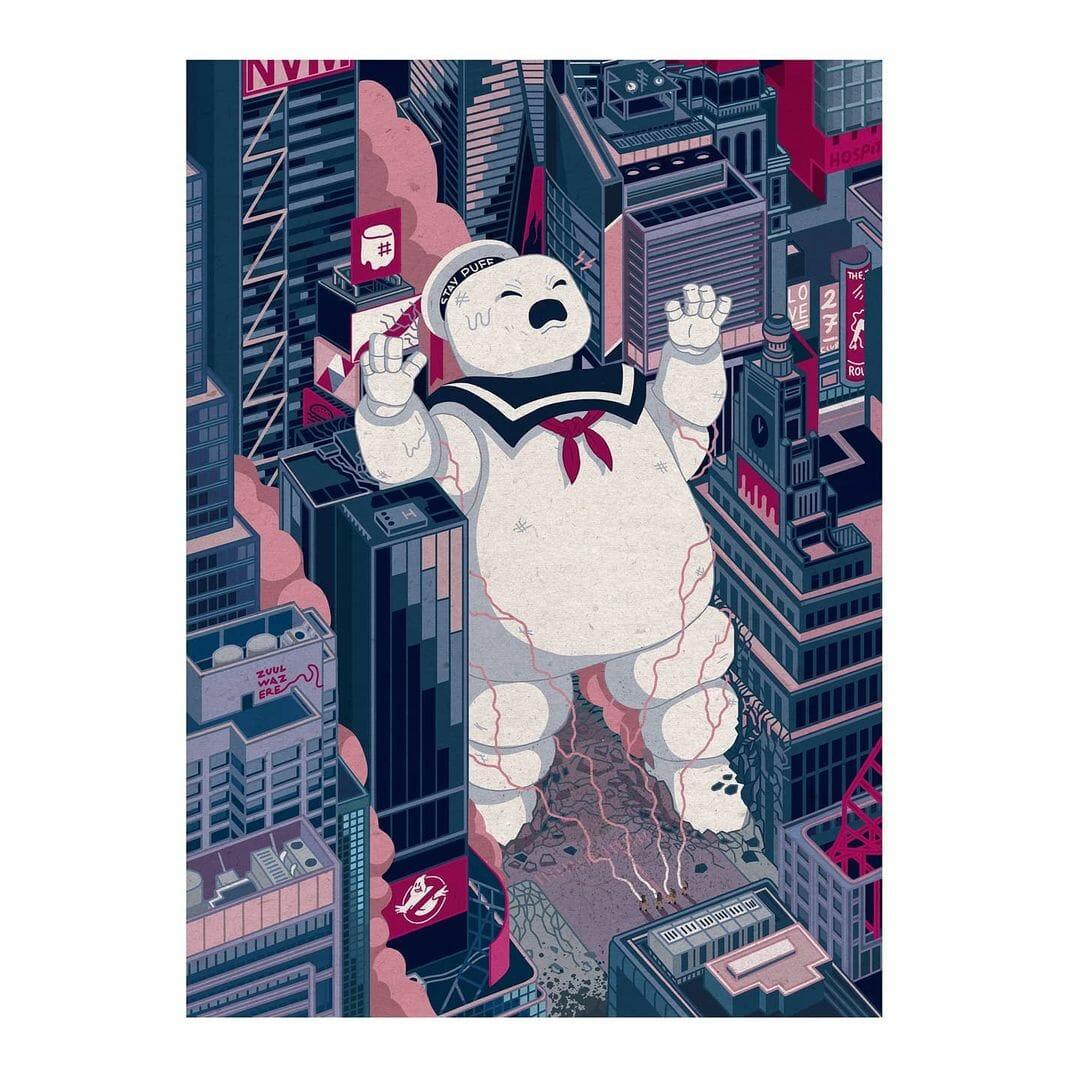 Gros monstre en guimauve dans les rues, illustration inspirée du film Ghost Buster