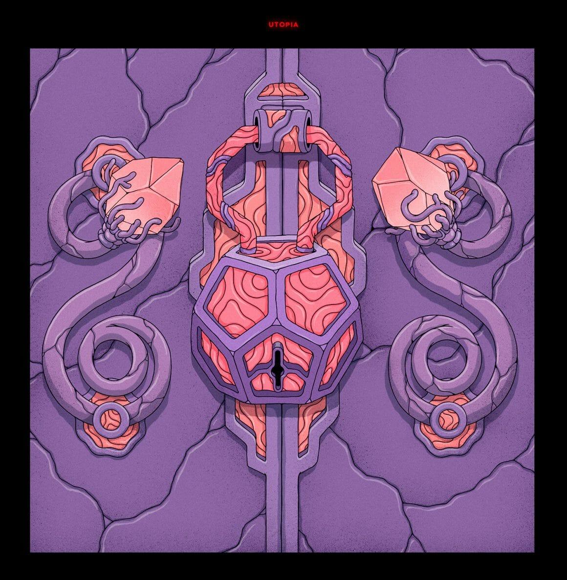 Cadenas en octogone, porte inspiré de l'univers fantasy avec des pierres précieuses et des moulures.