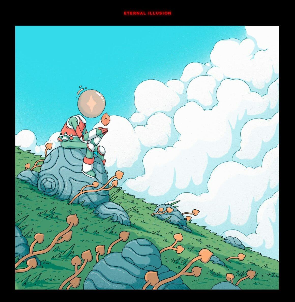 Personnage avec tête en forme de bulle, assis sur un rocher futuriste, contemple une figure géométrique flottant au dessus de ses mains jointes. Prairie utopiste, brouillard et ciel bleu.