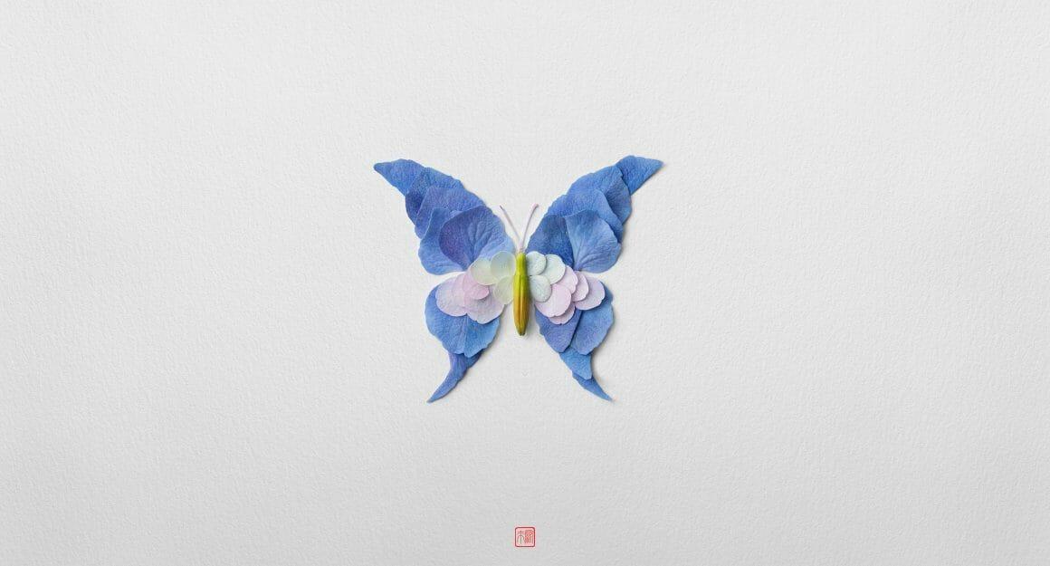 Papillon bleu fait de pétales Raku Inoue