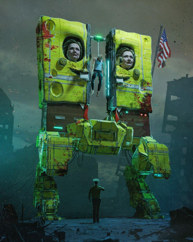 Hillary Clinton en Bob l'éponge robotique et immense