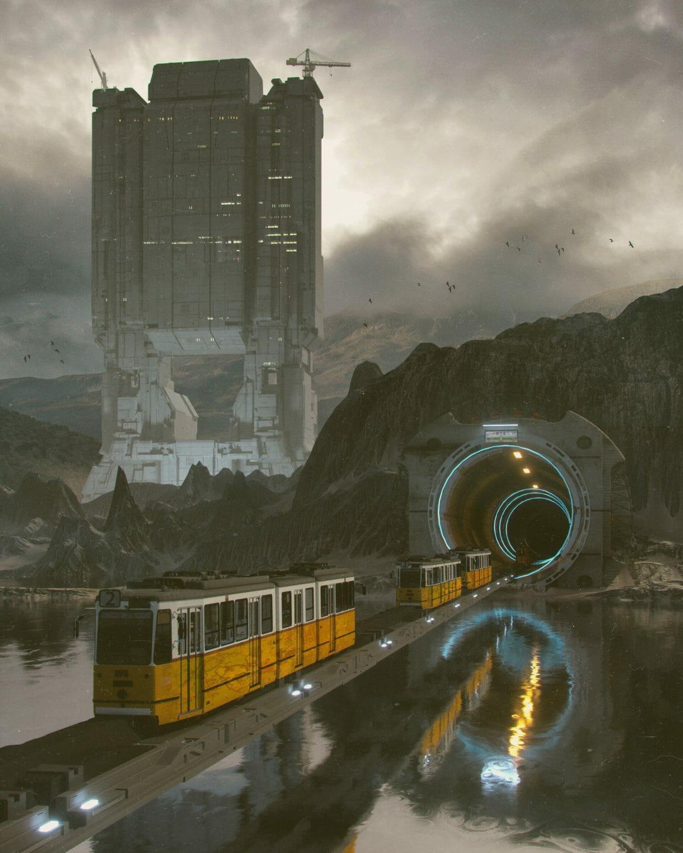 Tramway traditionnel dans un environnement post-apocalyptique