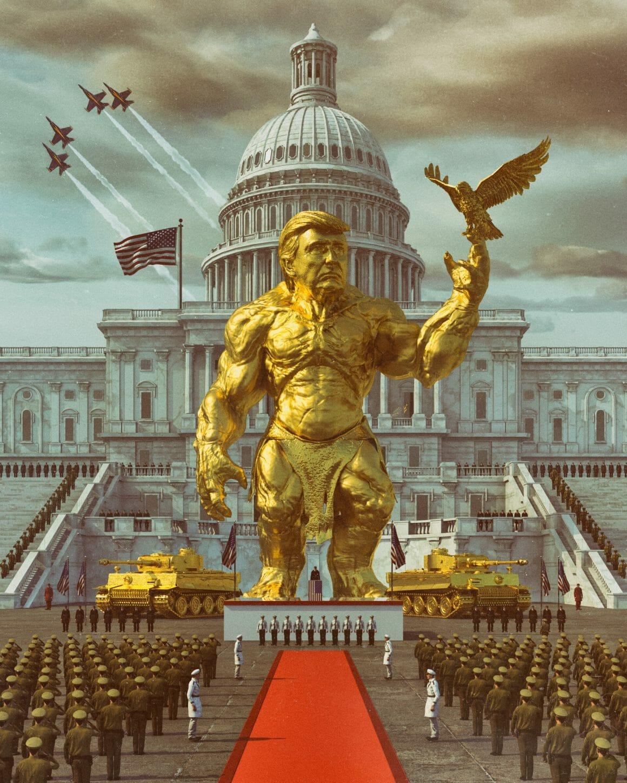 Statue de Donald Trump dorée lors de la fête nationale américaine en 2032