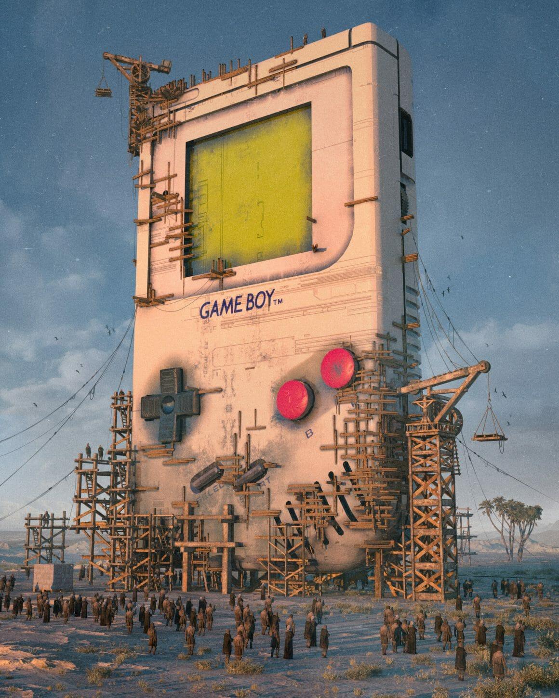 Une Gameboy géante rattachée observée par des habitants