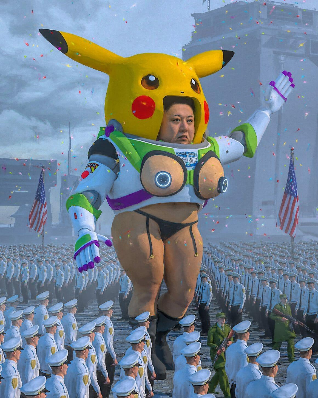 Kim Jong-un dans un costume Pikachu et Buzz l'éclair