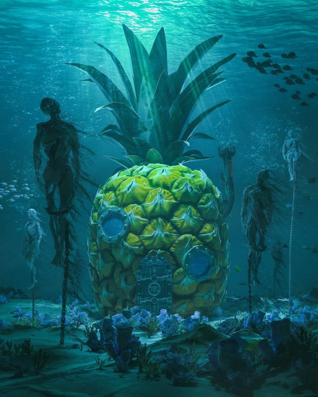 Maison d'ananas sous l'eau au milieu de cadavres squelettiques