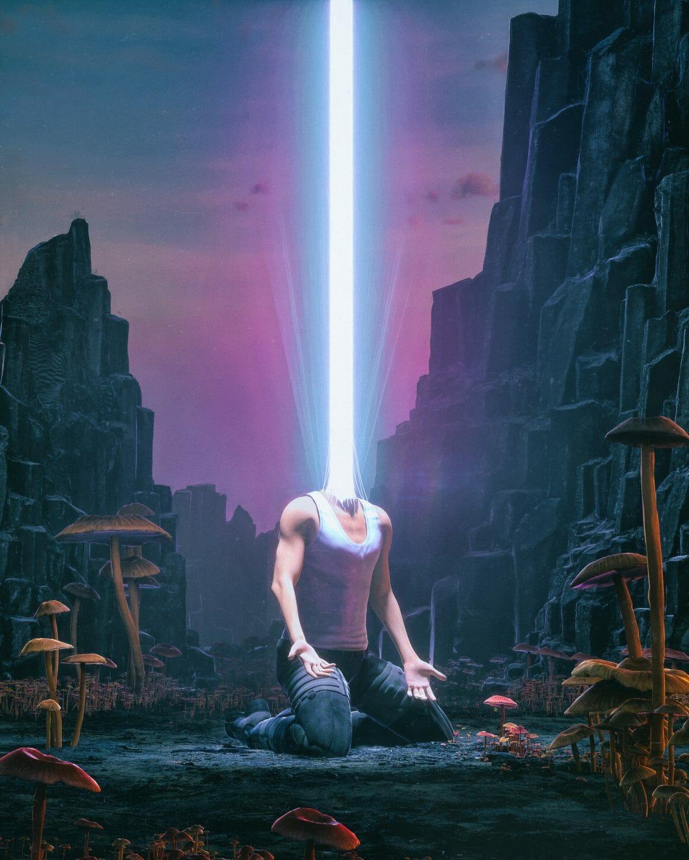 Homme géant où une lumière jaillit de sa tête arrachée