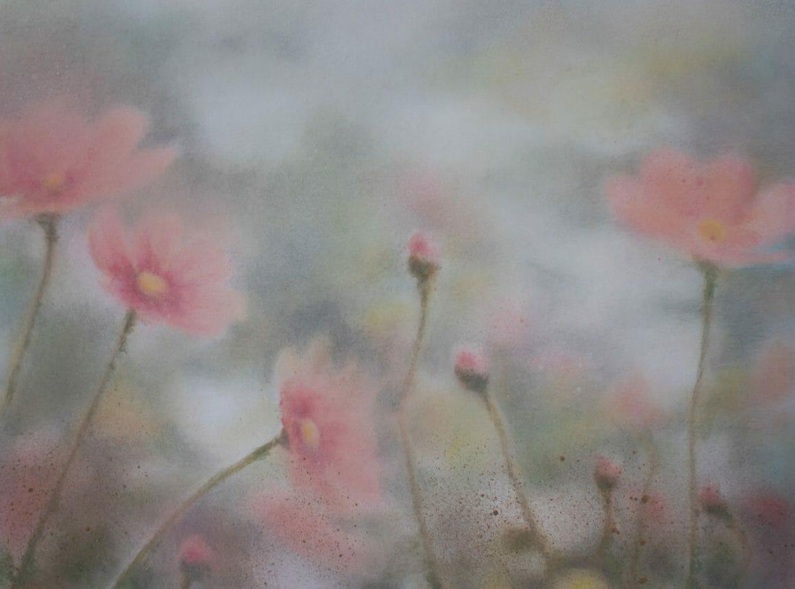 Fleurs roses floues
