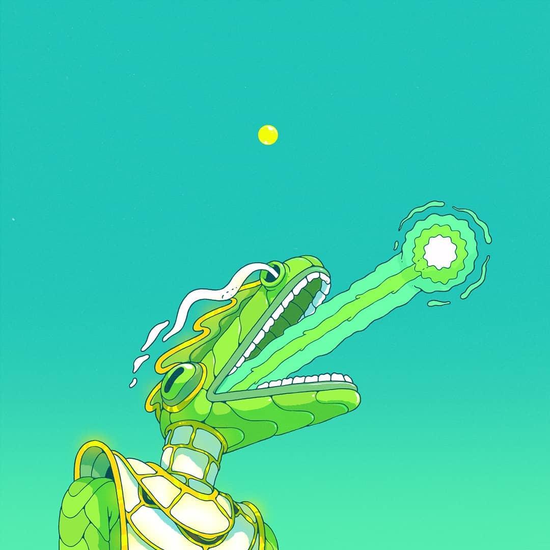 @spoon_tar, dragon personnifié en tenue futuriste.Il crache une boule de feu  sur un fond vert.