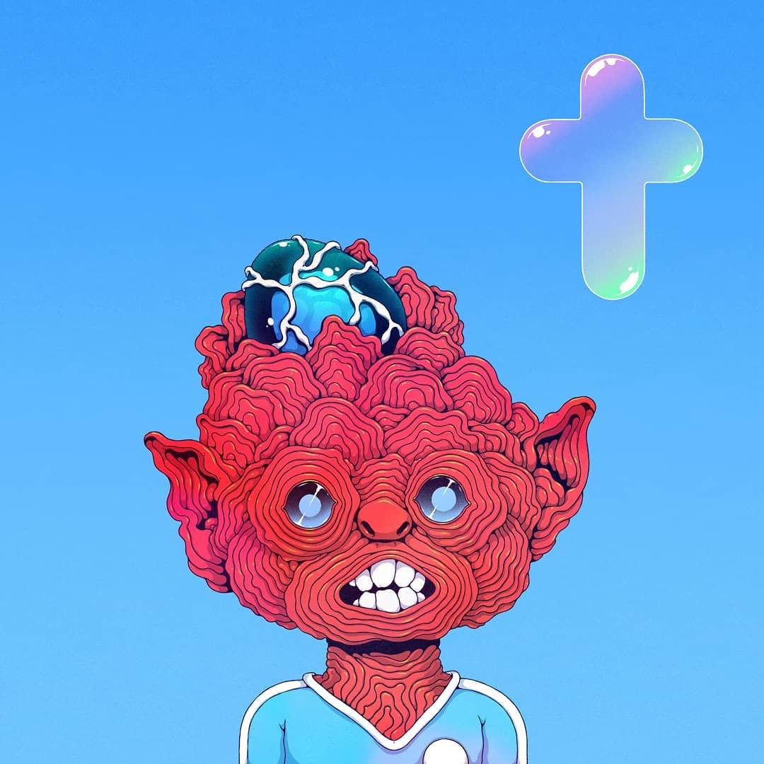 @spoon_tar - La sérénité  humanoïde absurde, rouge au visage formé de cernes successives, avec un oies bleu posé dans le crâne. Croix en bulle de savon en haut à droite.
