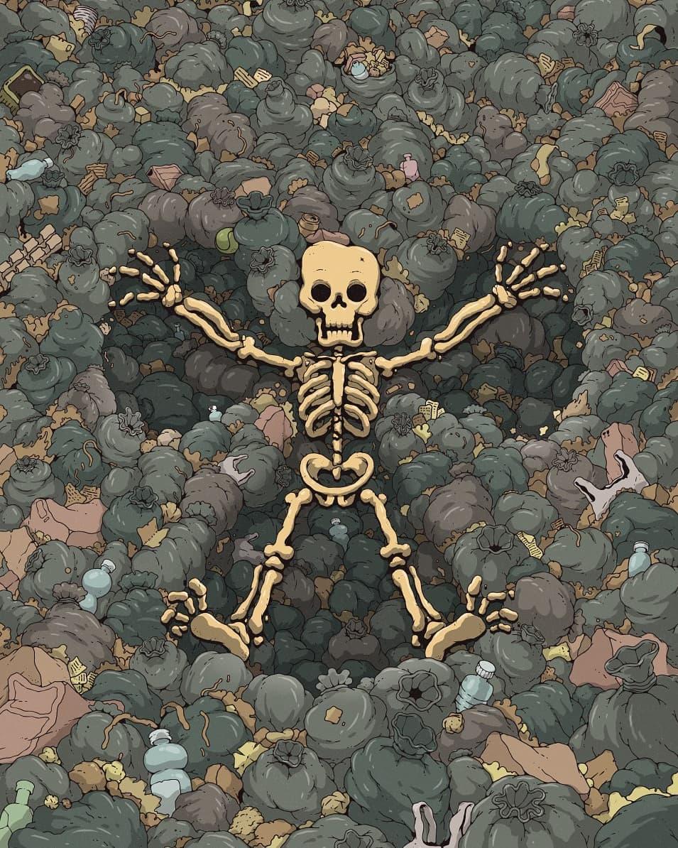 Squelette qui fait l'ange, mais la neige est remplacé par une masse de détritus.