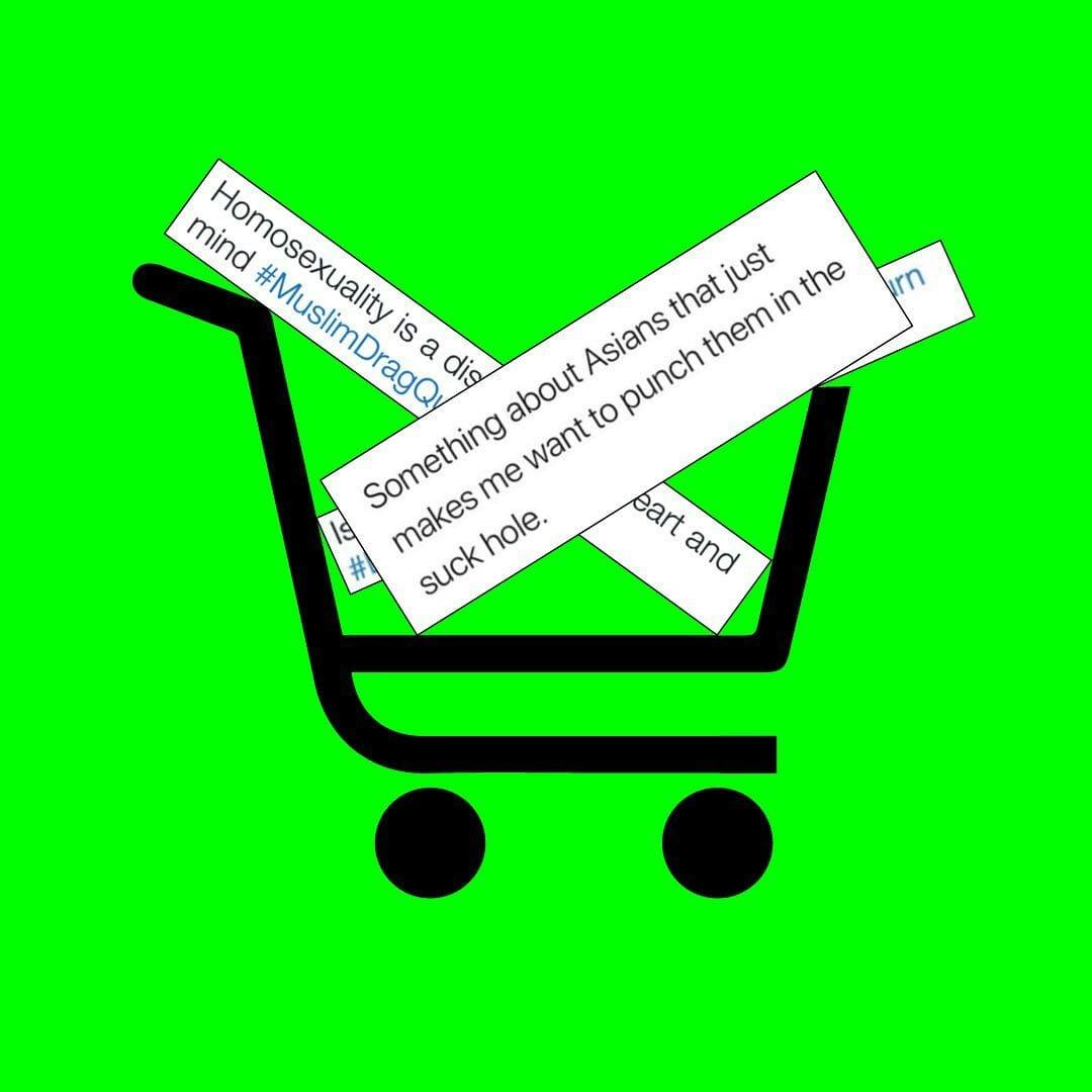 """Fond vert, panier de site de e-commerce rempli de captures d'écran messages haineux. Le premier : """"Something about Asians that just makes me want to punch them in the suck hole."""""""