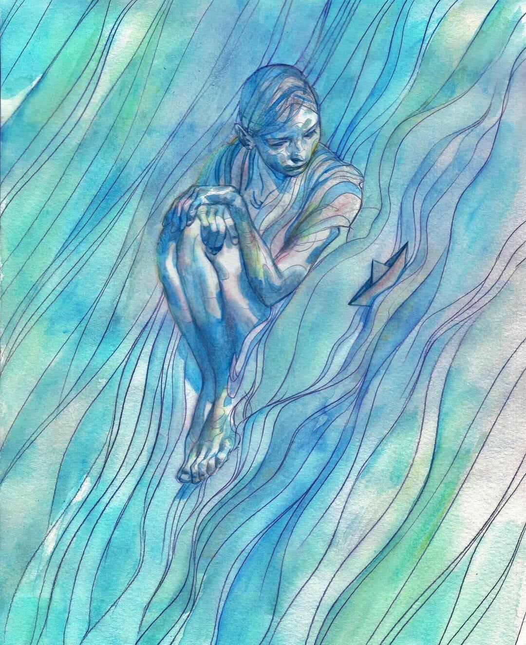 Illustration teintée de bleu réalisée par Eliza Ivanova